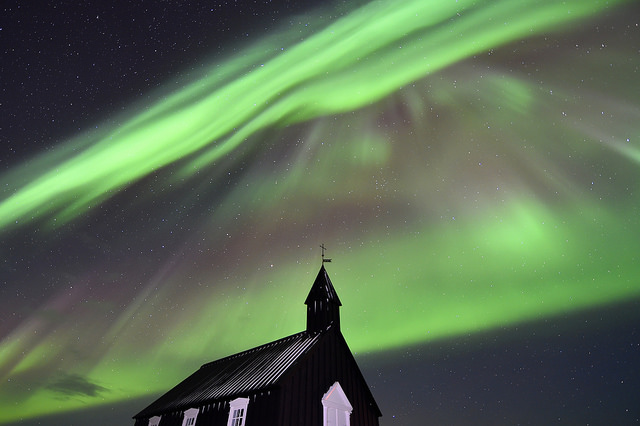 Northern Lights over Black church at Budir, Iceland by Diana Robinson, 2015