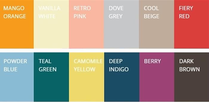 As cores que a WGSN definiu como tendência macro para 2016 e para o projeto da 100% Design de 2015