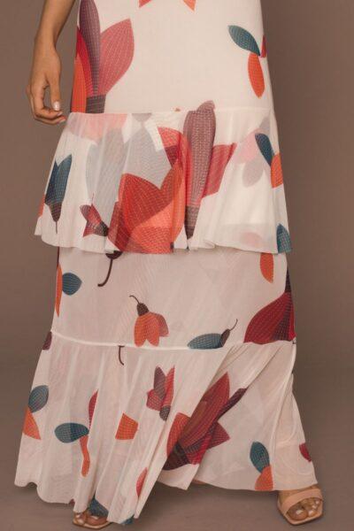 Vestido de tule maxi transpassado /342VLV-91