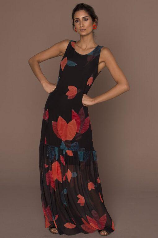 Vestido de tule longo com barra franzida /384VLF-121